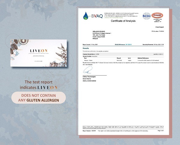 Tested LIVEON does not contain Any Gluten Allergen By BVAQ
