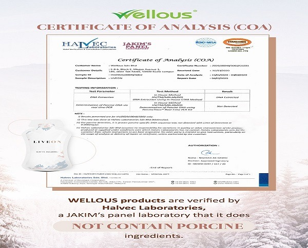 "Certified ""HALAL"" by JAKIM Panel Laboratory (HALVEC Laboratories)"
